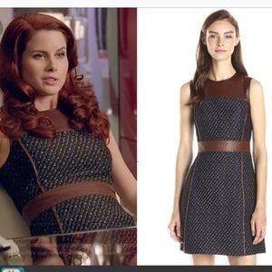 Theory Calvino Leather & Heighten Tweed Dress